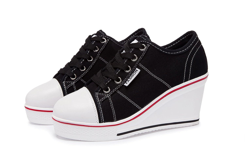a15b10d56ba43d Zetiy Women Girls Canvas Shoes Wedge Heeled Trainers Platform Fashion  Sneaker Lace up Boots Sneakers Pump Shoes  Amazon.co.uk  Shoes   Bags