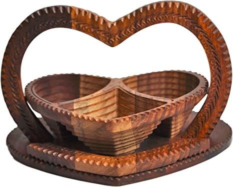 Special DAY Wedding LOVE Gift Wooden Collapsible Fruit Basket 12x12x12 Elegant Wooden Foldable Fruit Basket Circular Hand Crafted Valentine Day Gift