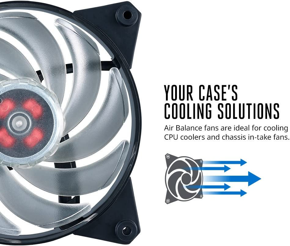 Cooler Master MasterFan Pro 120 Air Balance Computer Cases CPU Coolers and Radiators 120mm Hybrid Black Case Fan
