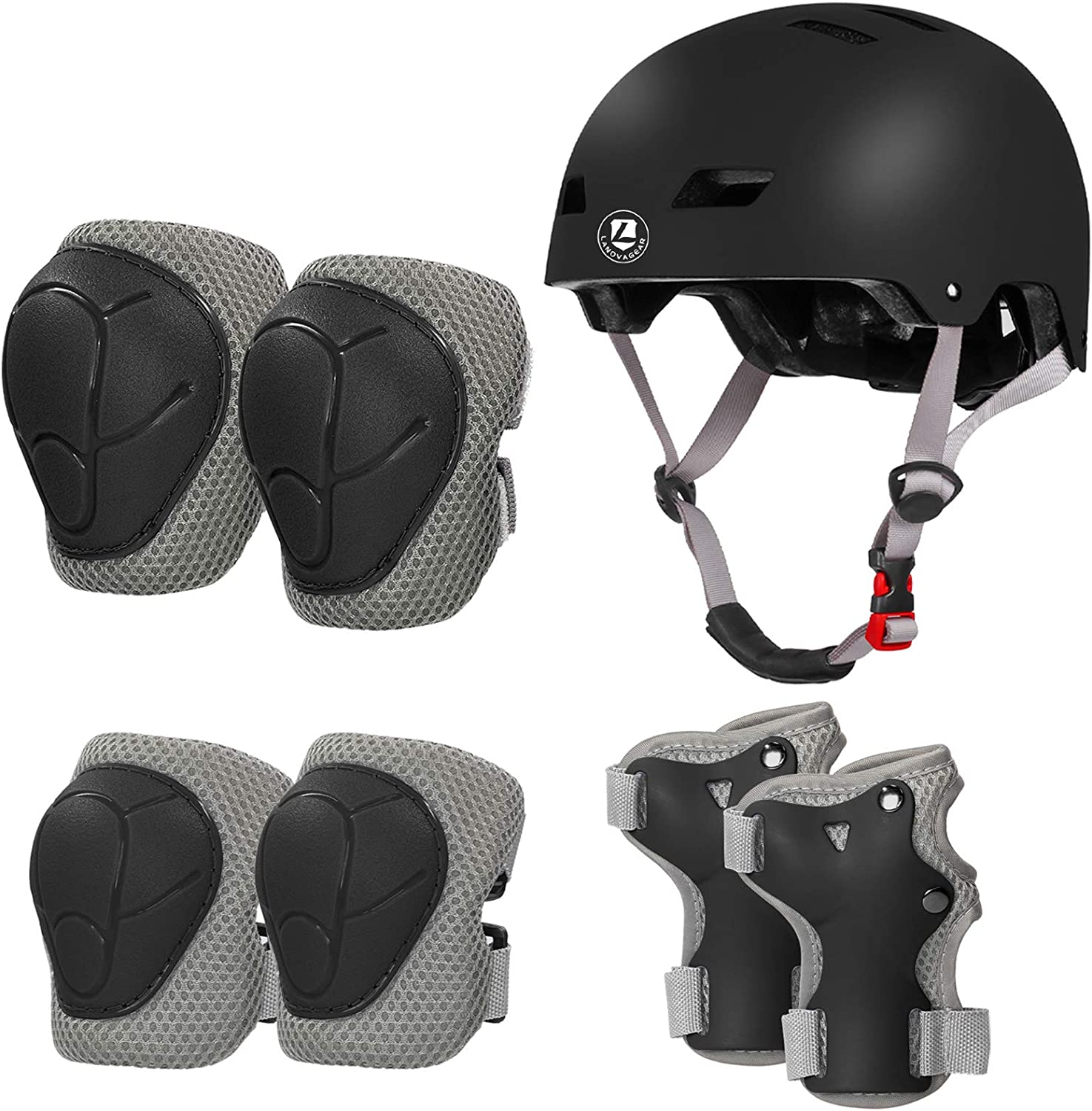 LANOVAGEAR Toddler Helmet Knee Elbow Pads and Wrist Guards Adjustable CPSC Kids Bike Helmet for Cycling Skateboard Scooter