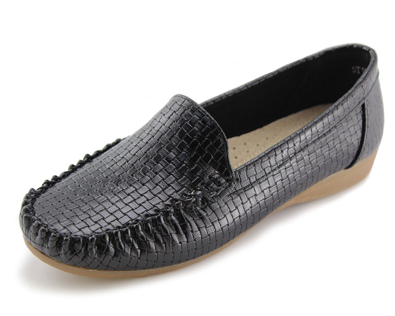 Jabasic Women's Slip-on Loafers Flat Casual Driving Shoes(9, Black)