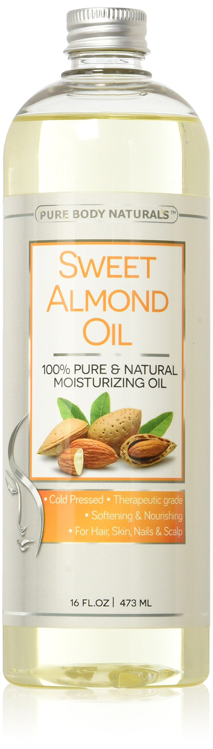Pure Body Naturals Cold Pressed Sweet Almond Oil for Skin, Hair, and Carrier for Essential Oils - 16 Fl. Ounce
