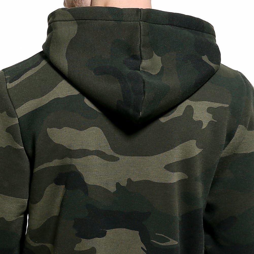 MANLUODANNI Mens Pullover Fleece Sweatshirt Camouflage Hoodies