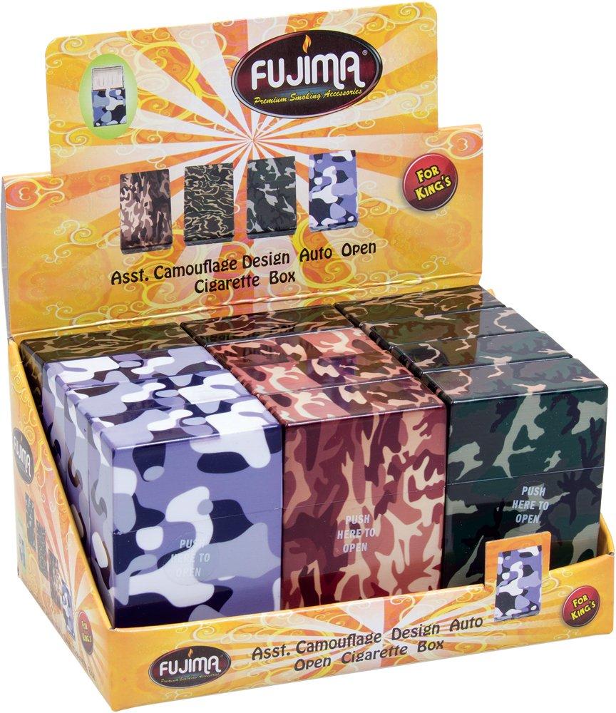 12PC Plastic Cigarette Case Camo Kingsize