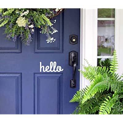 Hello Front Door Vinyl Decal Sign: Handmade
