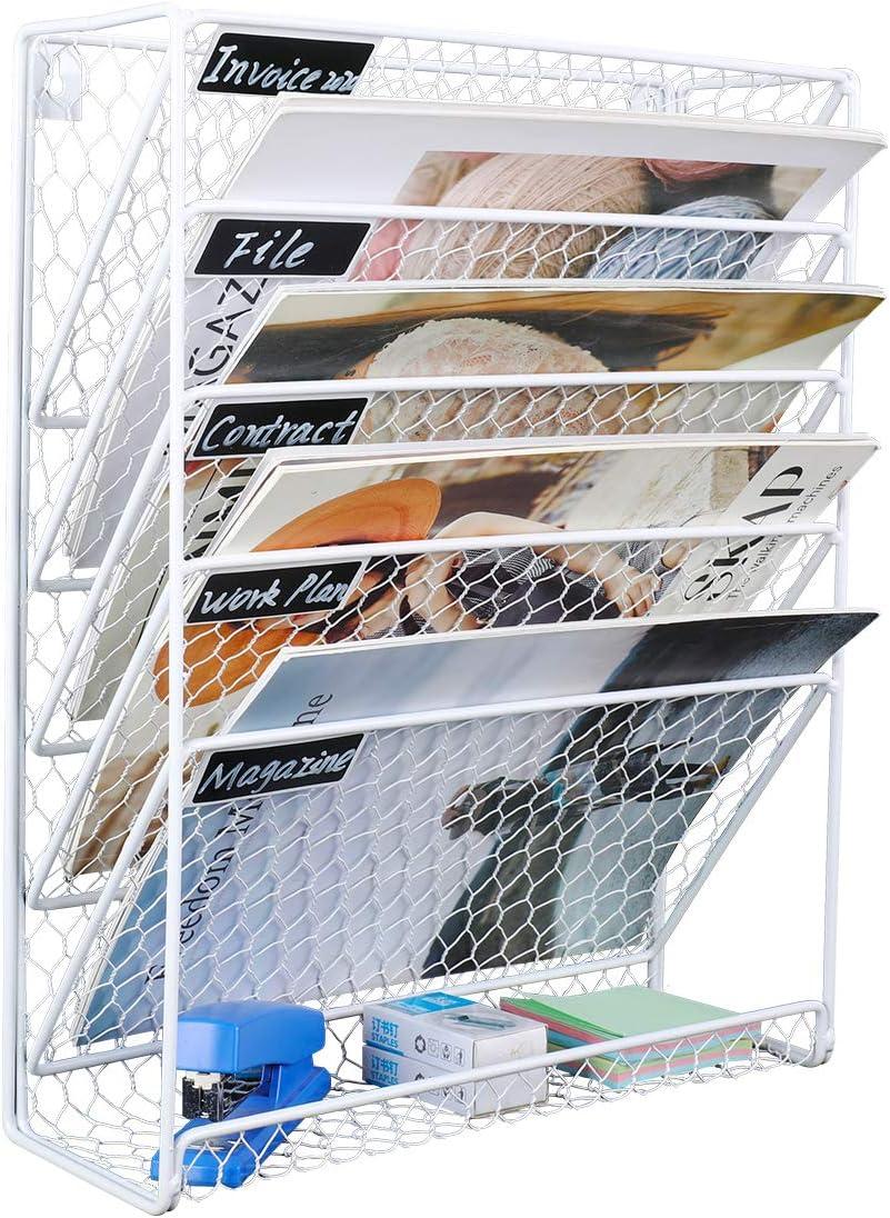 EasyPAG 6 niveles A4 malla en bandeja para colgar archivos de pared estante de almacenamiento organizador de correo color blanco