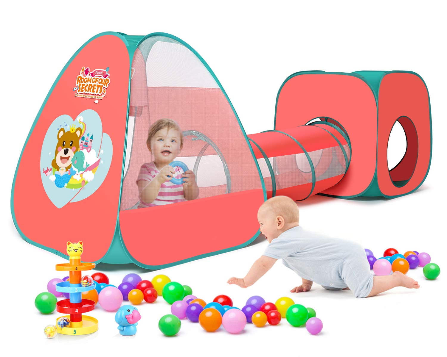 Peradix Pop Up Play Tent Tunnel for Kids Active - 6 Months to 6 Years Old Baby Ball Pit Tent with Tunnel for Kids, Boys, Girls, Babies and Toddlers, Indoor/Outdoor Playhouse(Red)