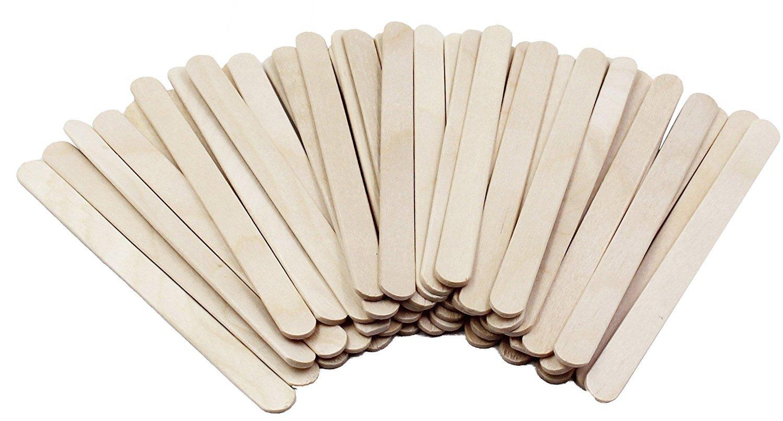 RIVERKING 300 Pcs Birch Wood Popsicle Craft Sticks Wooden Ice Cream Sticks Treat Sticks for Children's Craft, Spa and Salon Use, DIY Homemade Desserts, 4.5 Inch