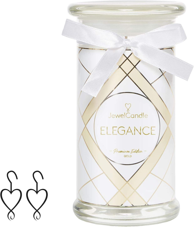 - Bougie avec Bijoux Surprise Le Cadeau Parfait pour Elle Boucles doreilles JewelCandle Bougie Bijoux Elegance Grand Blanc Bougie parfum/ée avec Bijou en plaqu/é Or