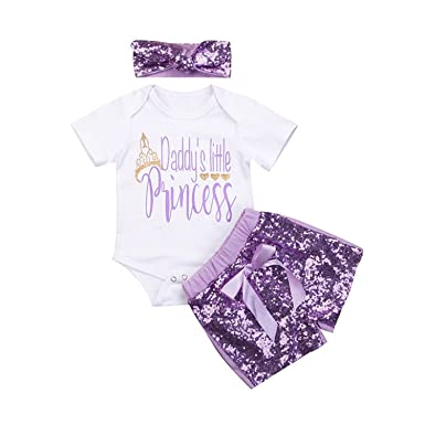 27f875be0 Baby Girls Clothes Romper Tops,Sequins Shorts+Headbands Daddy's Little  Princess Outfit Set (