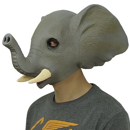 Cusfull Novedad De Lujo De Látex De Caucho Elefante Espeluznante Máscara De Decoraciones De Fiesta De