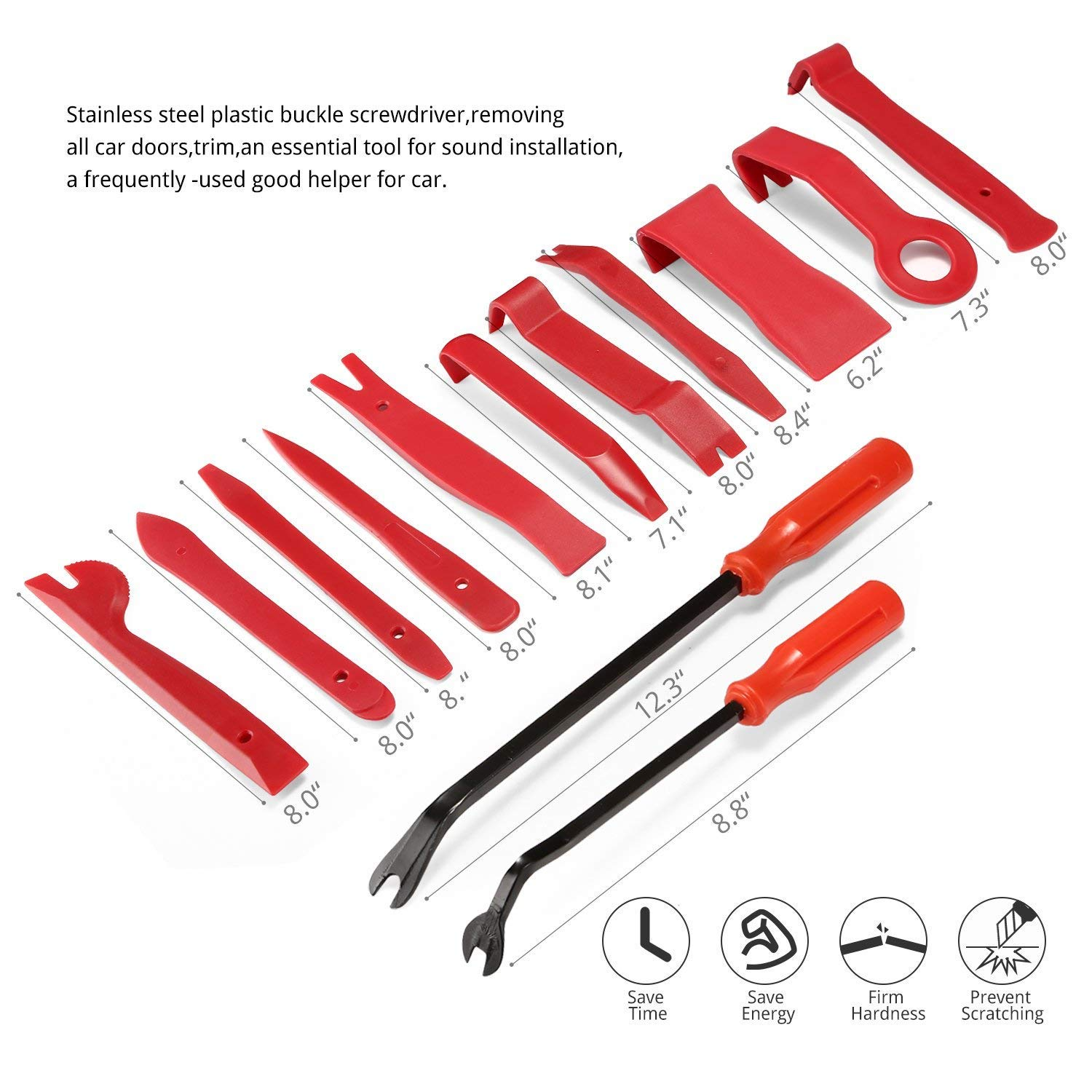 PullPritt Auto Trim Removal Tool Set, 13 Pieces Car Panel Removal Tools Kit with Nylon Storage Pouch by PullPritt (Image #2)