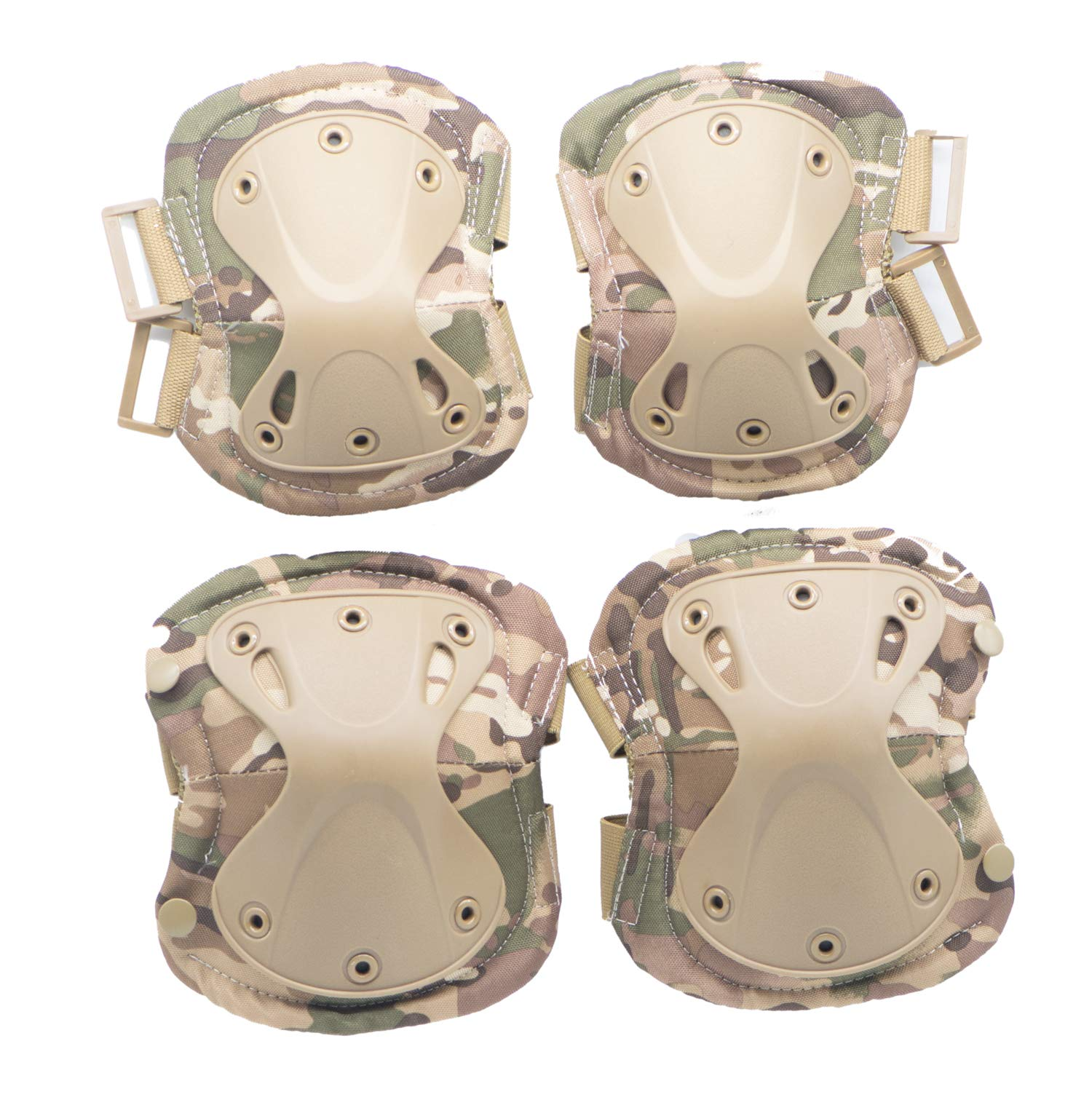 Military Tactical Multicam Knee and Elbow Pads ,Professional Skate Protective Pad Army Combat Airsoft Hunting Paintball Swat Outdoor Sports Safety Gear,Adjustable Straps Gel Cushion (Green-CP) by Aoglenic