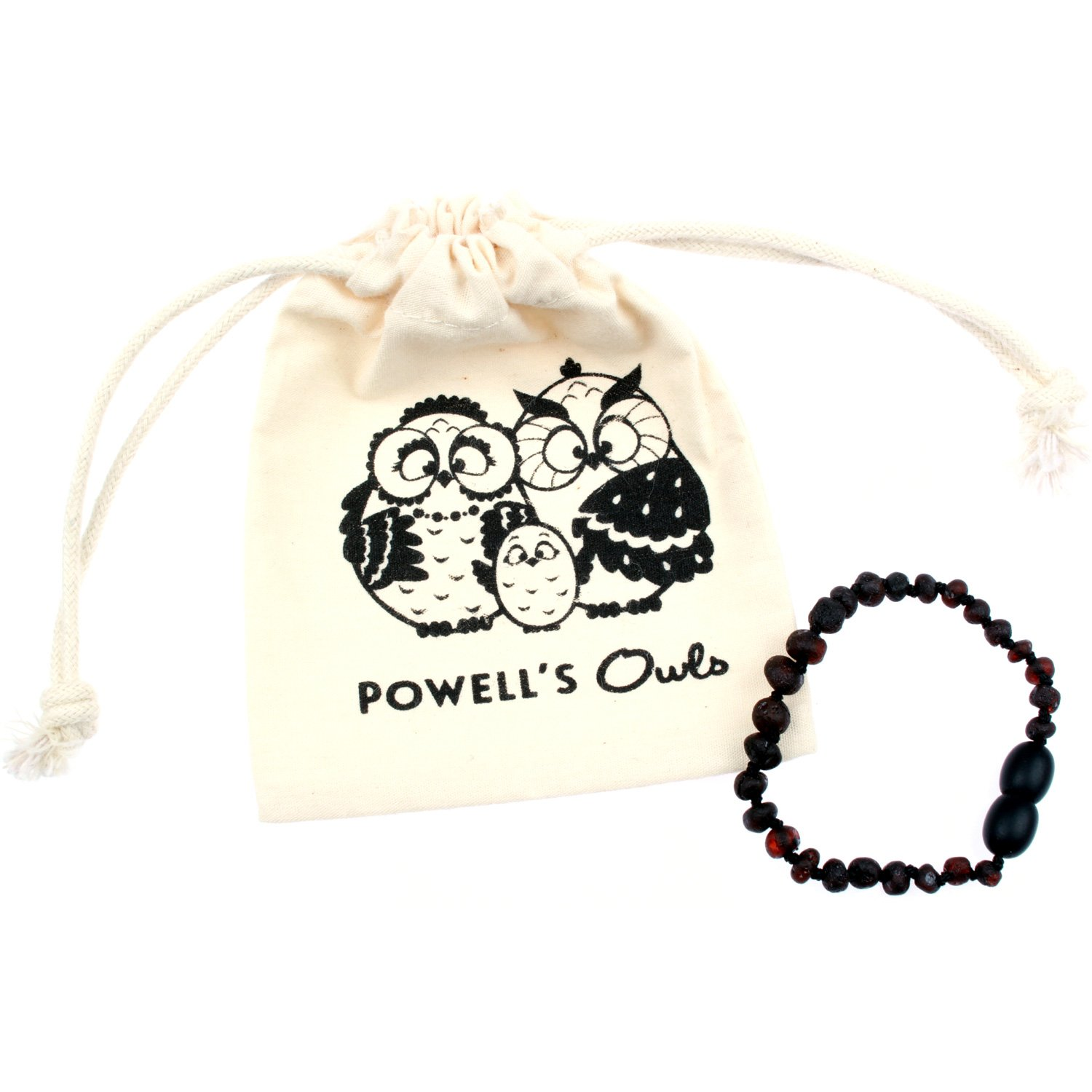 Baltic Amber Teething Bracelet / Teething Anklet For Babies, Toddlers & Kids (Unisex, Raw Unpolished Cherry, 5.5) Lab-Tested, 100% Certified Natural Baltic Amber - All Natural Teething Pain Relief 5.5) Lab-Tested Powell's Owls