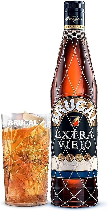 Brugal Extra Viejo Ron Dominicano y Estuche Vaso Alto, 700ml