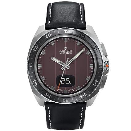 Junghans 056/4210.00 - Reloj analógico de cuarzo para hombre con correa de piel, color negro: Amazon.es: Relojes
