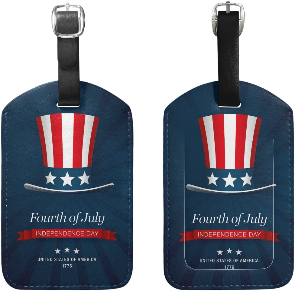 Chen Miranda Independence Day 4 Th July Luggage Tag PU Leather Travel Suitcase Label ID Tag Baggage claim tag for Trolley case Kids Bag 1 Piece