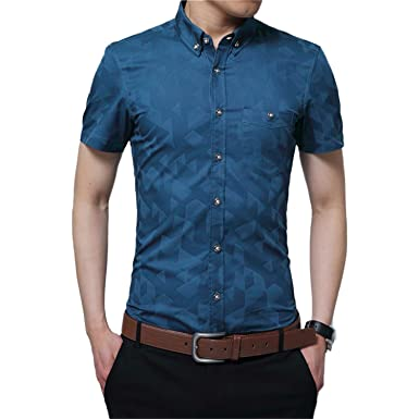 YTD Mens 100% Cotton Casual Slim Fit Short Sleeve Button Down ...