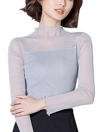 sitengle Damen Langarmshirt durchsichtige Ärmel Übergroß Elastische  Stehkragen Netz halb Transparent Shirt Oberteil Top Grau M 79c886ae01