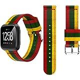 HappyTop Fitbit Versa, mit Flagge, Nylon Ersatz Uhrenarmband, Armband, Damen