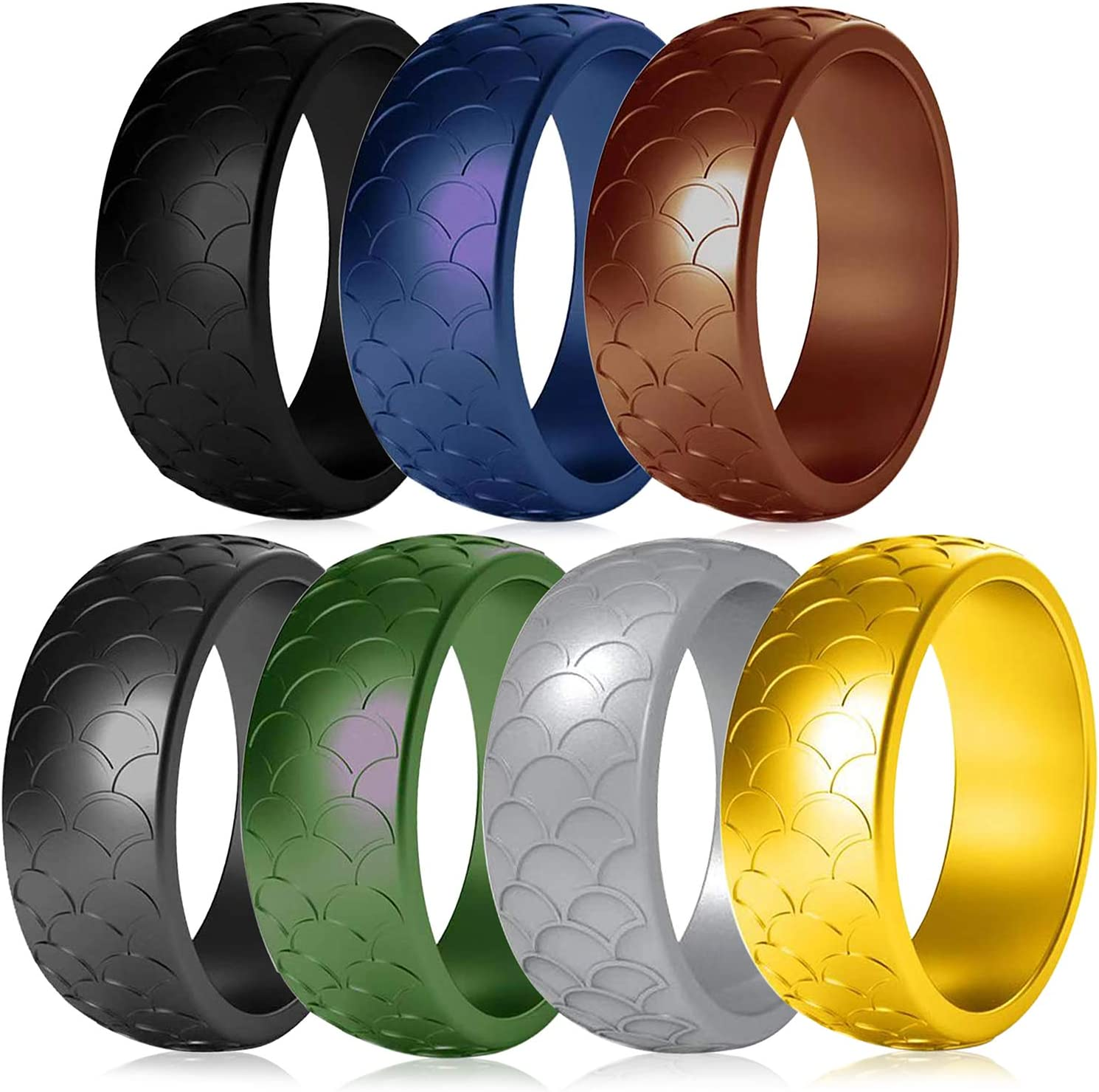 7Pack Rubber Wedding Bands ENlink Silicone Wedding Rings for Men Fish-Scale Pattern Rubber Rings for Men