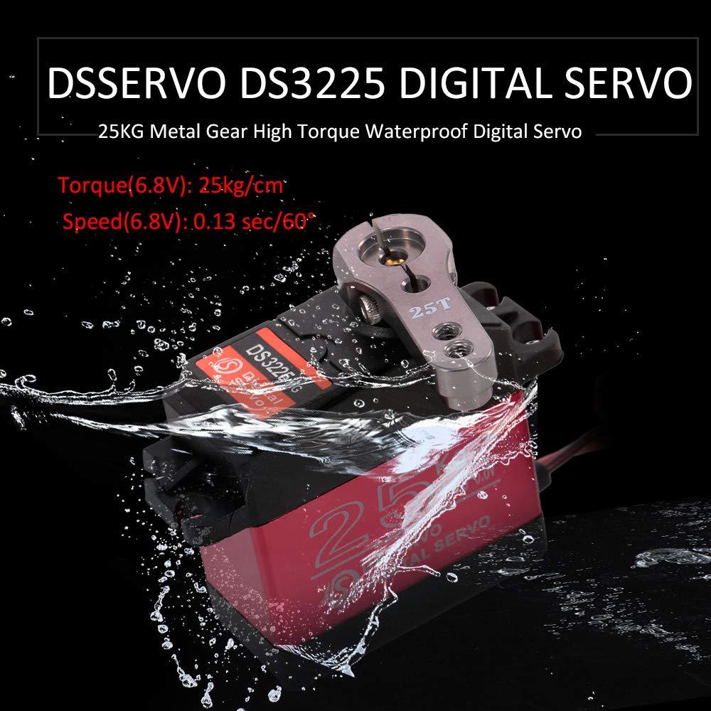 Goolsky DSSERVO DS3225 25KG Digital Servo Metal Gear High Torque Waterproof for RC Traxxas HSP Car Boat Helicopter Robot Airplane