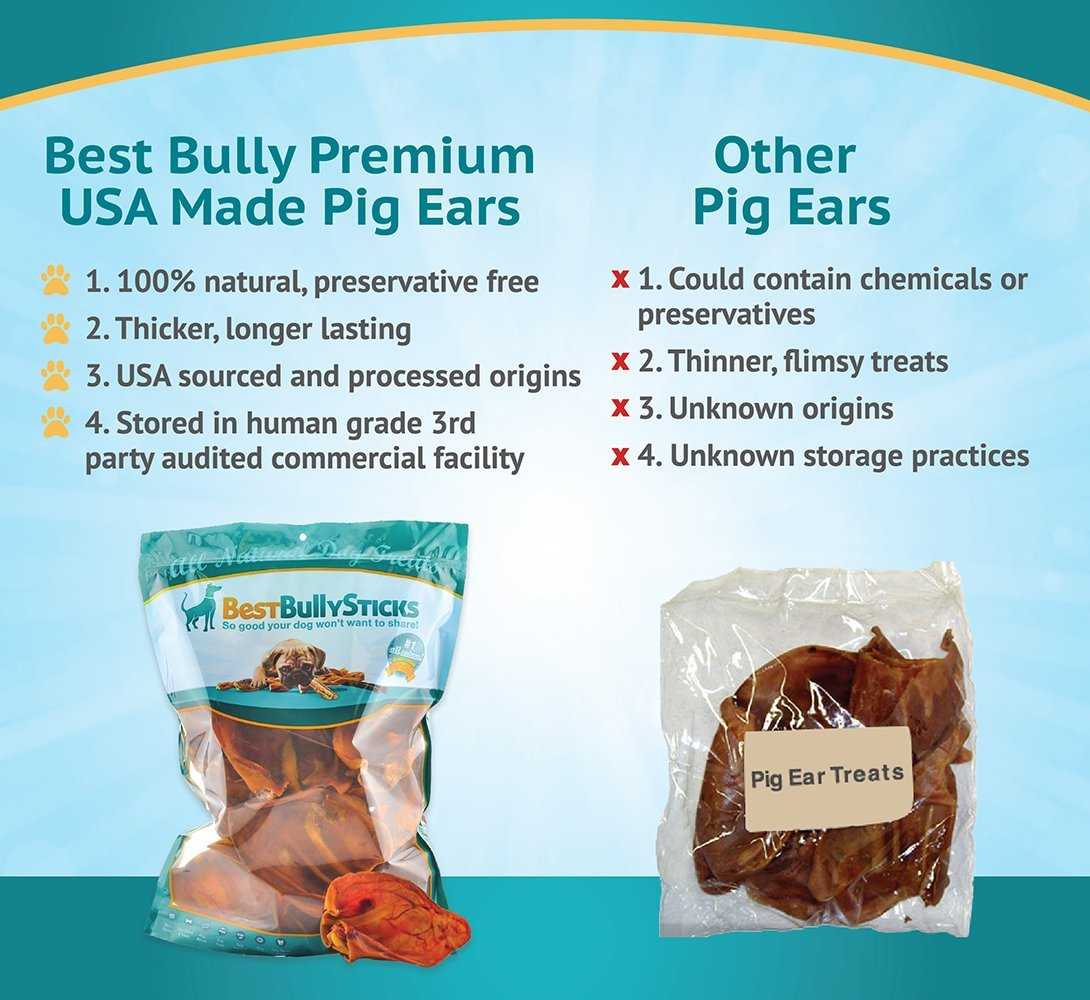 amazon com usa pig ears by best bully sticks 20 pack thick cut