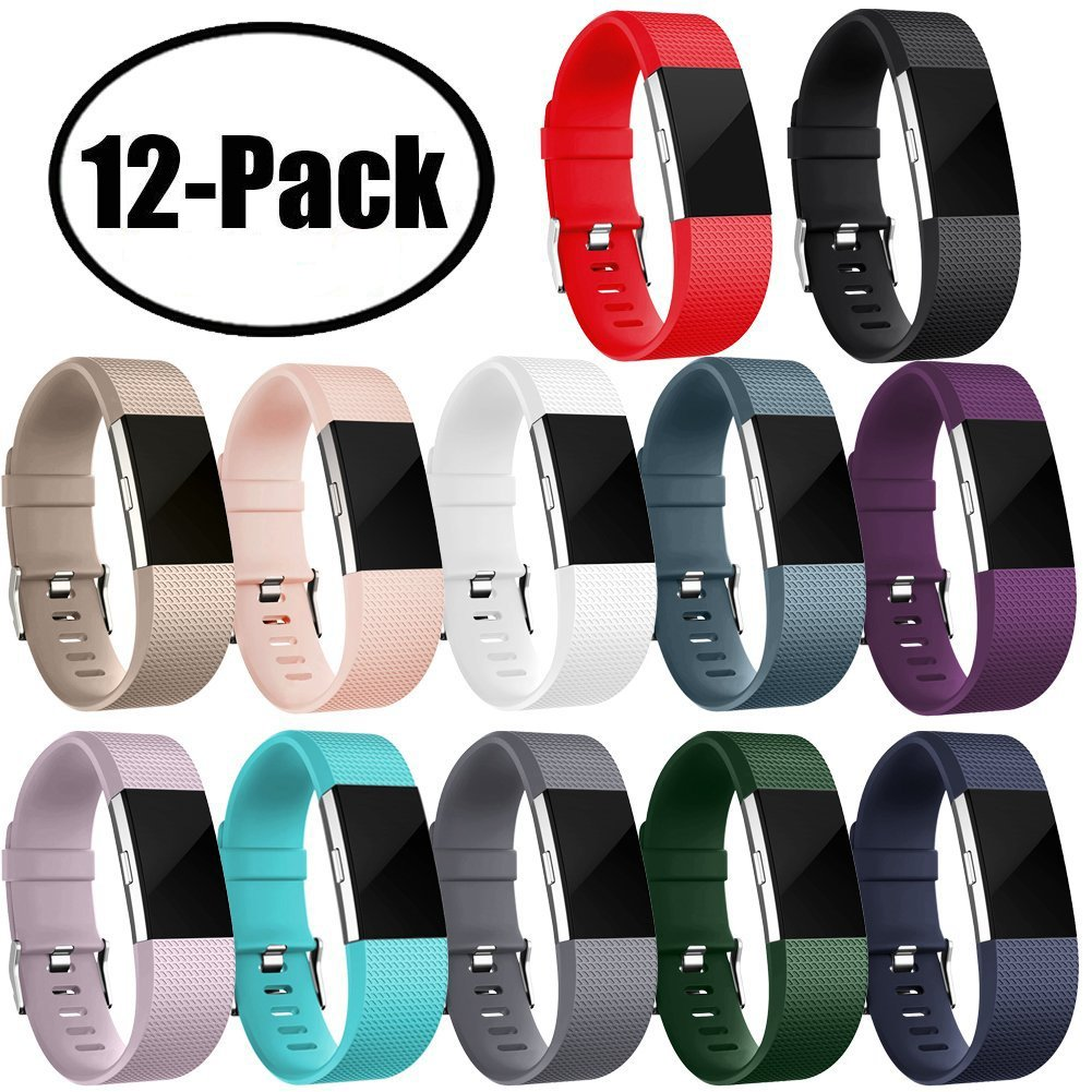 Geak Fitbit Charge 2バンド、Special Edition交換用バンドfor Fitbit charge2 Large Small 12異なる色 B077X53GQC Large|# 14-Pack # 14-Pack Large