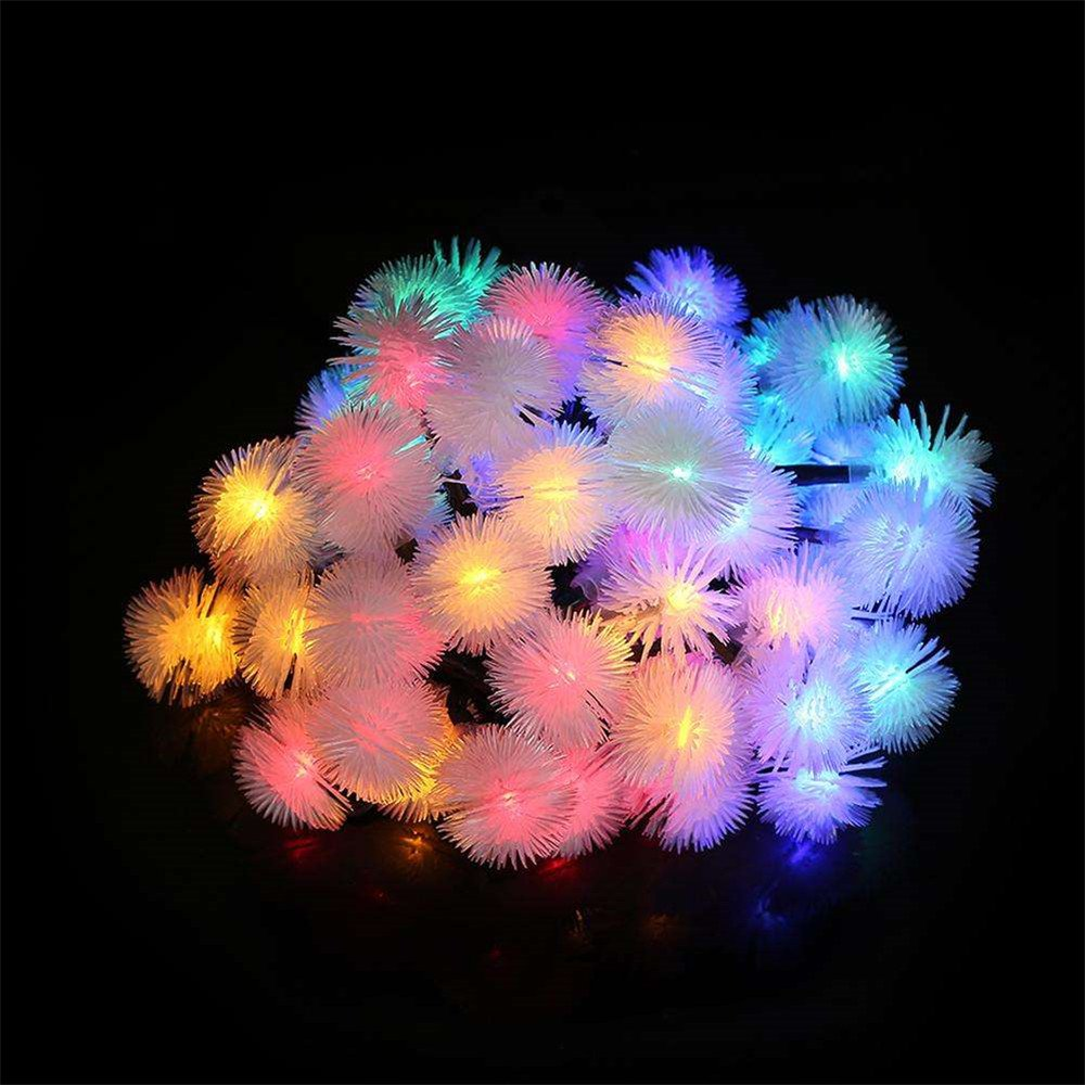 TechCode Solar String Lights, Waterproof Solar Powered LED Fairy Lamps String Lights Fur Snow Ball Lighting for Indoor/Outdoor Patio, Garden, Home, Wedding, Pathway, Party Decorations (Multi-Colour) by TechCode (Image #2)