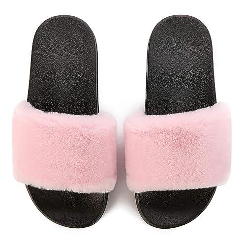 5719923238087d Spesoul Womens Furry Slippers Open Toe Indoor Outdoor Casual Flat Slide  Sandals Black Pink 7 M
