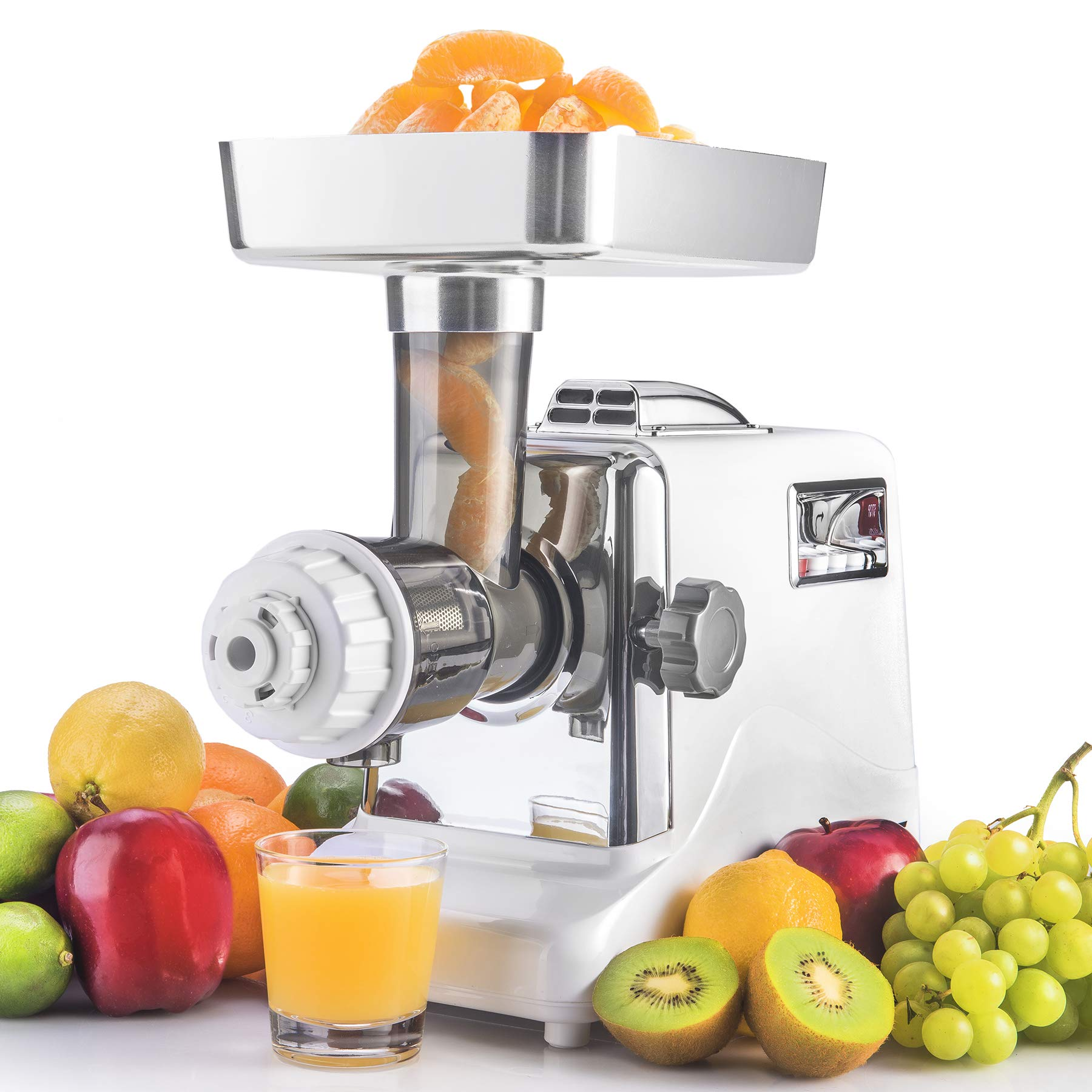 The STX Megaforce Platinum Series Patented Air Cooled - 2 In 1 - Slow Masticating Juicer & Electric Meat Grinder Complete Combo. A Heavy Duty Unique Masticating Juicer & Powerful Electric Meat Grinder by STX INTERNATIONAL