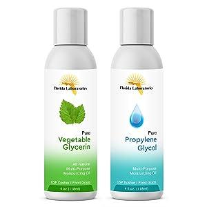 2-4oz Vegetable Glycerine & Propylene Glycol USP Kosher VG PG 99.9% Pure Food Grade