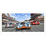 """From Steve McQueen in Le Mans - Perfect Racing Car Colorful Satin Art Print """"The Race Is ON"""" - McQueen Porsche 917 Ferrari 512 Design Room Decoration Wall Mural - 100 x 50 cm"""