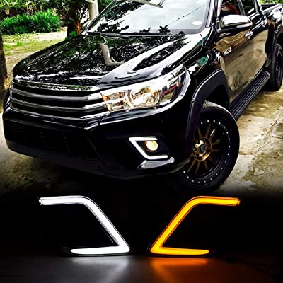 Allinoneparts For Toyota Hilux Revo 2015-2020 C Type OEM Replacement Fog light Cover LED DRL Daytime Running Lights With Yellow Turn Signal Lights Driving Fog Lamps Kit: Automotive