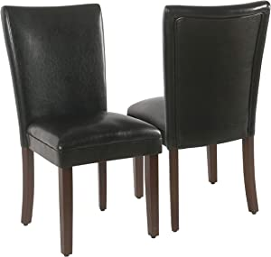 HomePop Parsons Upholstered Accent Dining Chair, Set of 2, Black Faux Leather