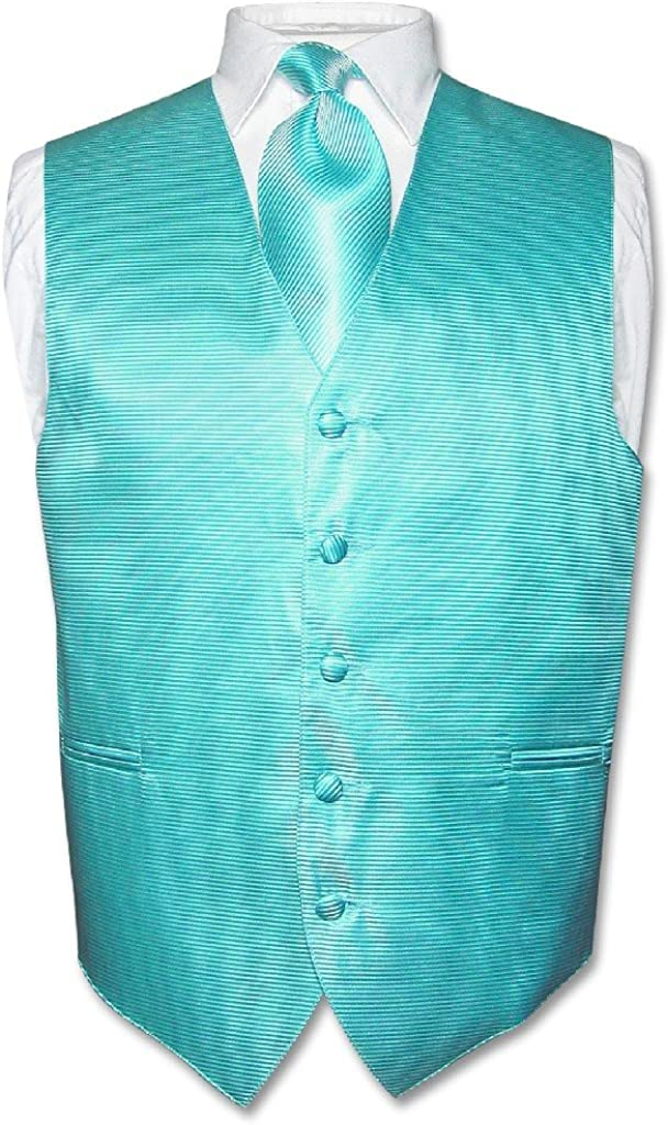 Men's Dress Vest & Necktie Turquoise Aqua Blue Neck Tie Horizontal Stripe Set