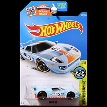Amazon Com Hot Wheels  Hw Speed Graphics Ford Gt Gulf Oil Light Blue   Toys Games