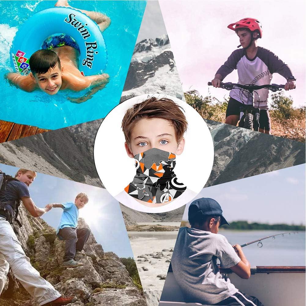 ODOUK Kids Neck Gaiter Face Mask Bandanas Mouth Cloth Cover Balaclavs Tube Headband for Dust Sun Protection