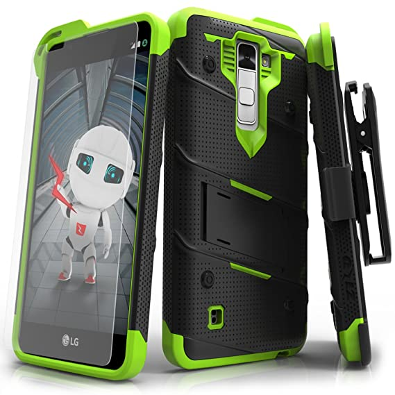 LG K10 Case, Zizo [Bolt Series] with Free [LG K10 Screen Protector Clear] Kickstand [12 ft. Military Grade Drop Tested] Holster Belt Clip - LG K10