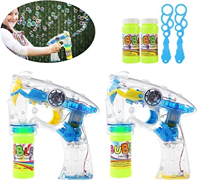 Flashing LED Bubble Ray Light Up Gun Kids Party Outdoor Garden Fun Toy Gift