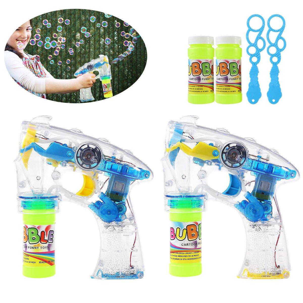 TOYMYTOY 2 confezioni di LED illuminano la pistola a bolla lampeggiante e il suono Shooter blu // giallo