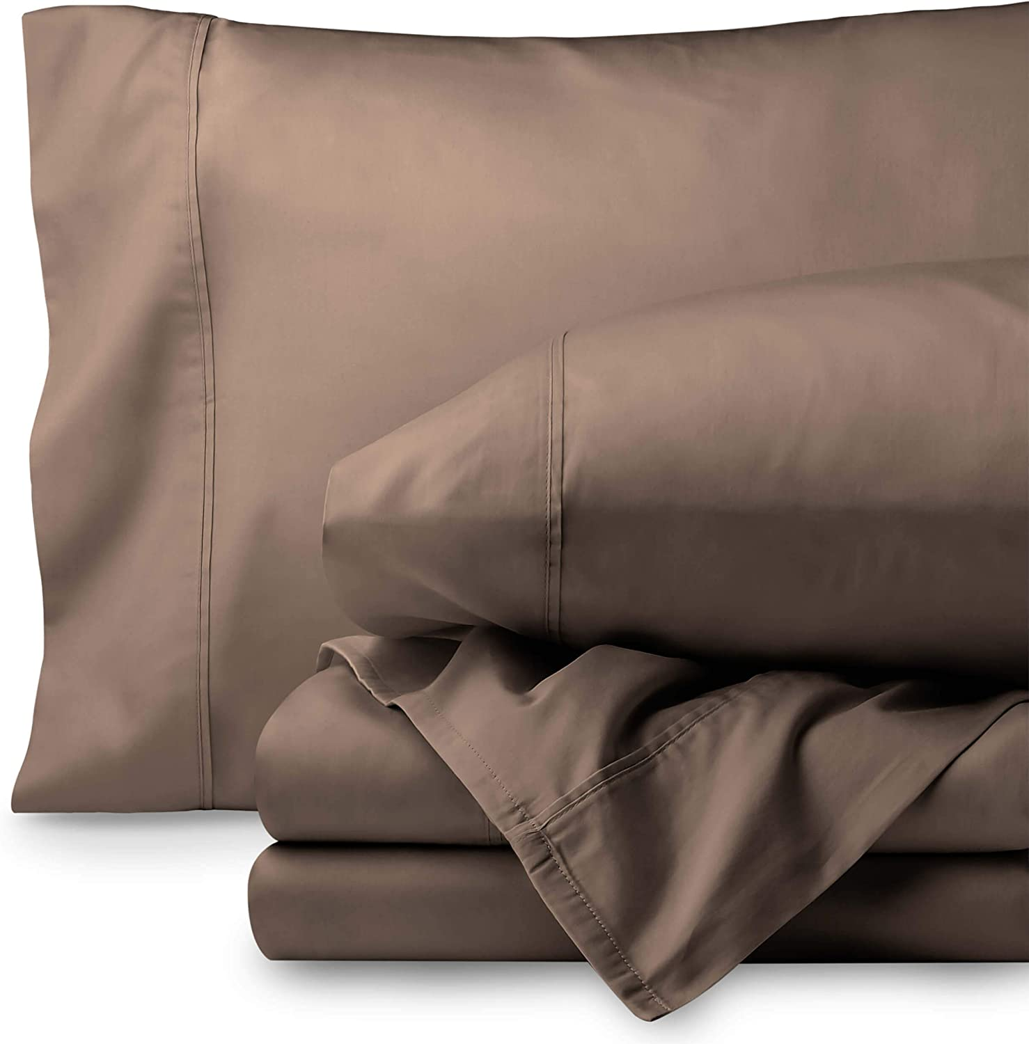 Bare Home Egyptian Cotton 300 Thread Count Sateen Queen Sheet Set (Queen, Taupe)