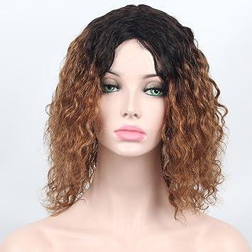 SHANDIREN Outdoor 2 Tones Dark Roots Women s Machine Made Human Hair  Natural Curly Wigs Glueless Baby 6a317c7296