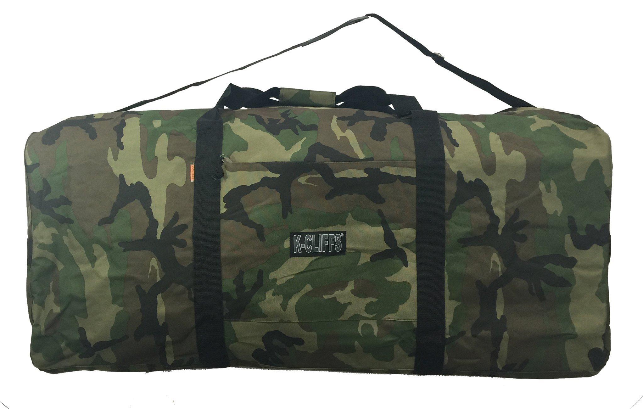 K-Cliffs Heavy Duty Cargo Duffel Camo Large Sport Gear Drum Set Equipment Hardware Travel Rooftop Rack Bag 42 Inch Camo