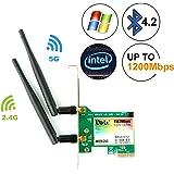 Ubit Bluetooth 4.2 PCI-E 1200 Mbps デスクトップワイヤレスネットワークカード