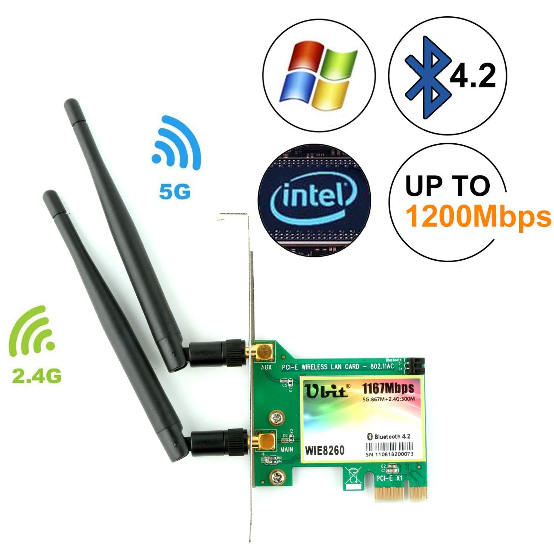 Ubit AC 1200Mbps Bluetooth4.2 Wireless Network Card, 802.11 AC Dual-Band 1167Mbps WiFi Card with Bluetooth 4.2, Dual-Band 5Ghz-867Mbps/2.4Ghz-300Mbps Network Card for PC(WIE8260)