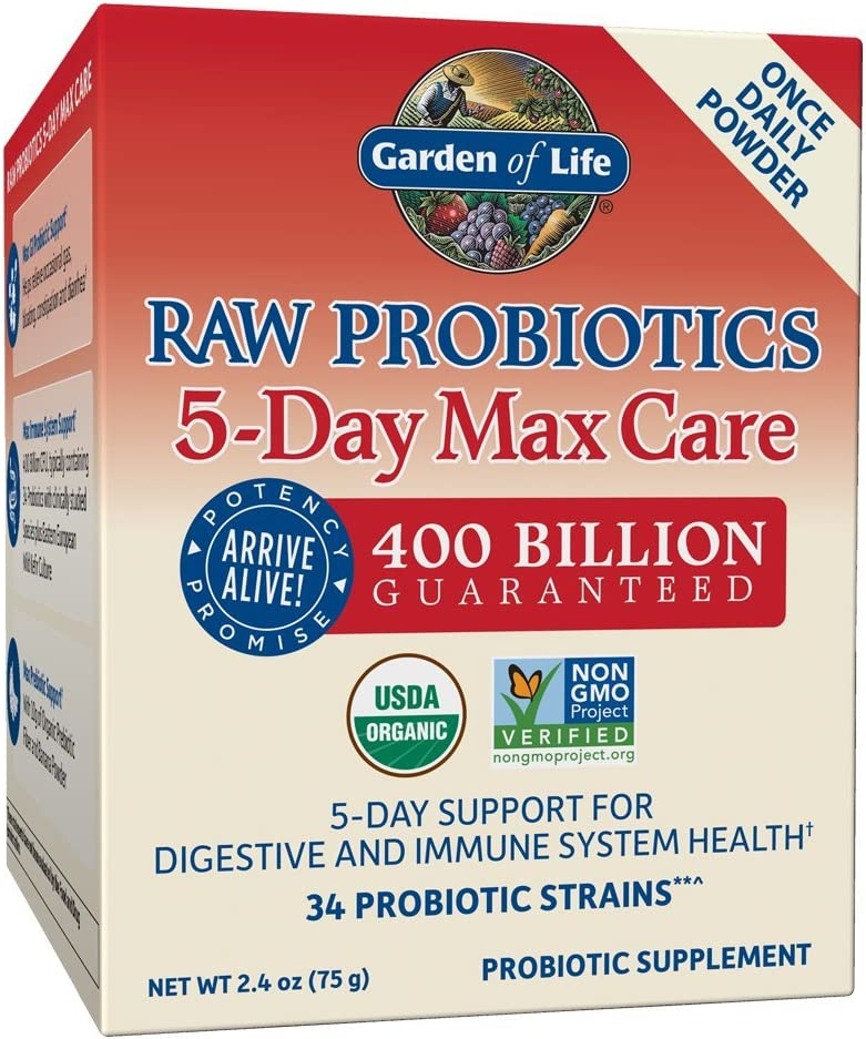 Garden of Life - RAW Probiotics 5-Day Max Care - Powder Banana Flavor - Acidophilus Probiotic Support for Digestive and Immune System - Gluten, Soy, GMO-Free, Certified Organic - 2.4 oz