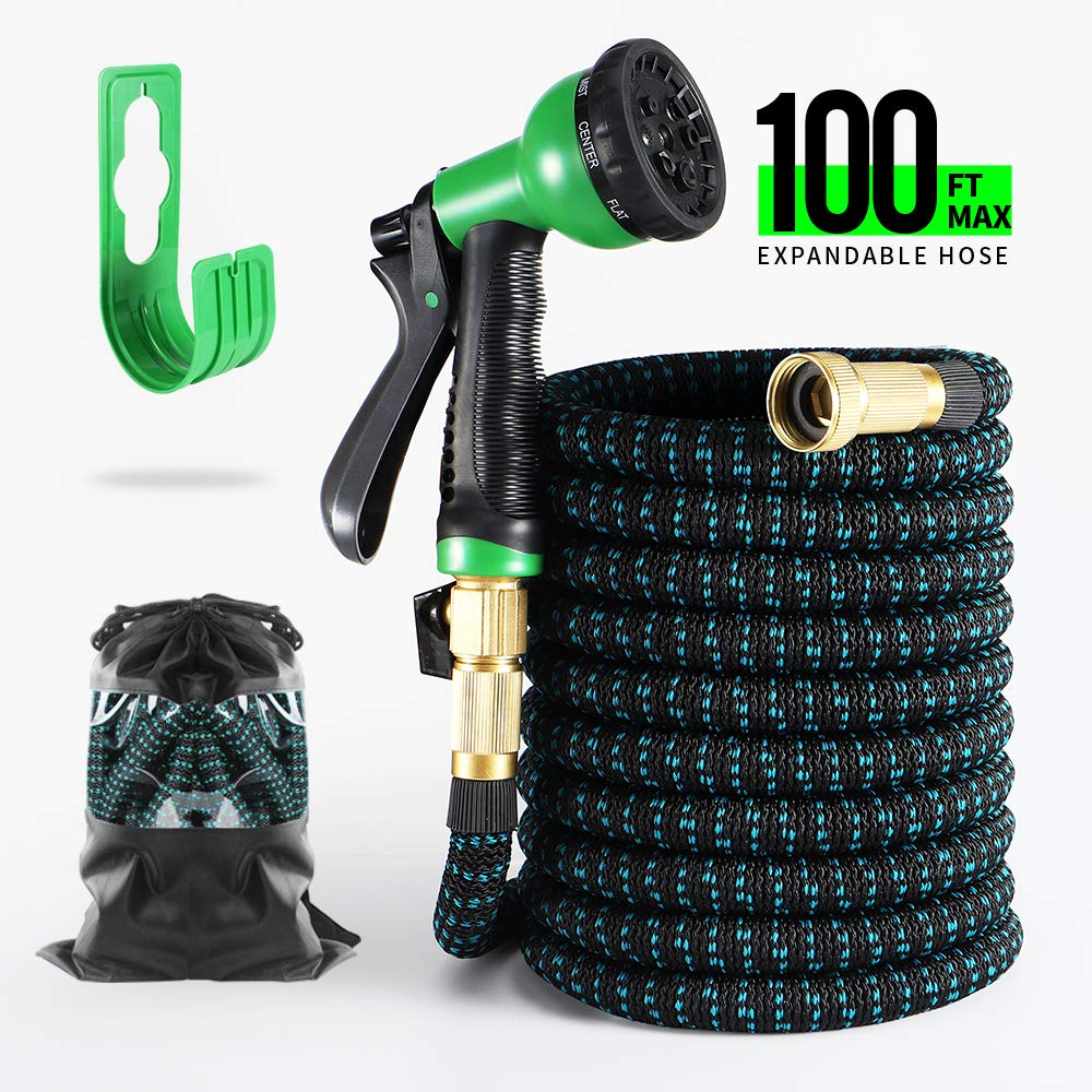 3//4 Solid Brass Connectors Extra Strength Fabric BOSNELL Expandable Garden Hose,Durable Flex Water Hose,8 Function Spray Hose Nozzle Lightweight Expanding Hose 50FT//75FT//100FT 50FT