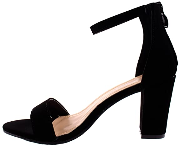 Amazon.com | Top Moda Womens Hannah-1 Black Single Band Chunky/Block Heel Sandal With Ankle Strap and Zipper Closure 8.5 D(M) US | Shoes