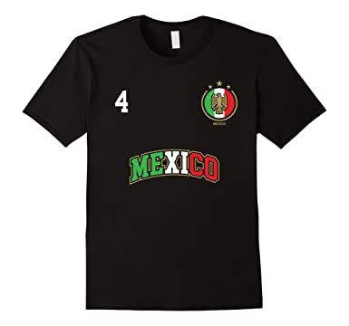 Mens Mexico Shirt Number 4 + BACK Soccer Team Futbol Mexican Flag 2XL Black